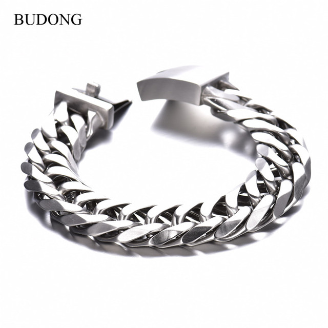 BUDONG Brand New Arrival Punk Jewelry Men Bracelet Link Chain Silver Stainless Steel Bracelets Bangles High Quality Goods BL015