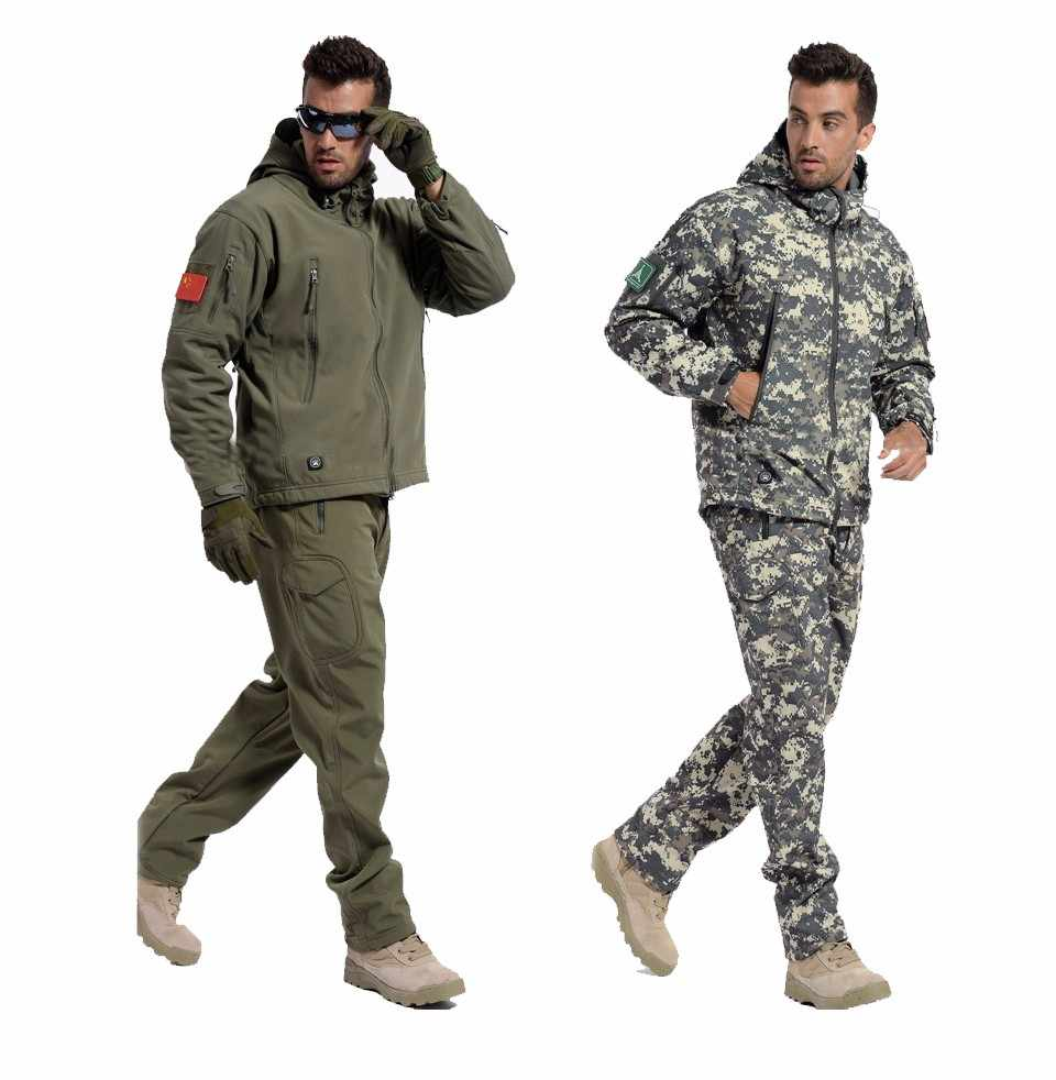 Tactical Gear Softshell Camouflage Jacket Men Army Waterdicht Warm Wandelen Kleding Windjack Fleece Jas Militaire Jas set