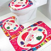 3pcs Set Christmas Bathroom Non Slip Blue Ocean Style Pedestal Rug Lid Toilet Cover Bath Mat