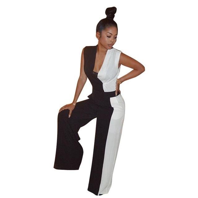 11c8700ebbb Col en V noir blanc Patchwork combinaisons formelles pour les femmes 2018  mode taille haute tenue