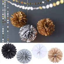 Paper Tissue Poms Wedding Party Rose Pompoms Baby Home Living Room Decoration Brand New(China)