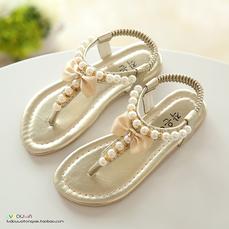 7d58a0a4214 2016 summer female child sandals princess shoes single shoes pearl flip flop  sandals flip flops baby shoes girls sandals-in Sandals from Mother   Kids  on ...