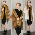 2016 new women winter coat female imitation wool knitted waistcoat imitation fox fur cape fur shawl P0060