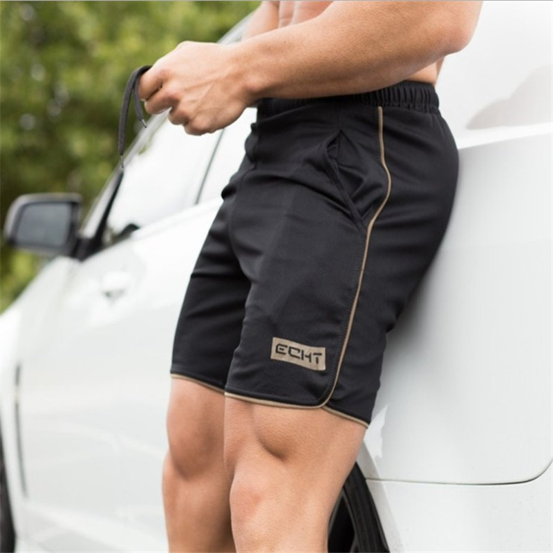 New Summer Men's Black Slim Shorts Calf Length Fitness Bodybuilding Men's Casual Fitness Breathable Mesh Shorts Beach Sweatpants