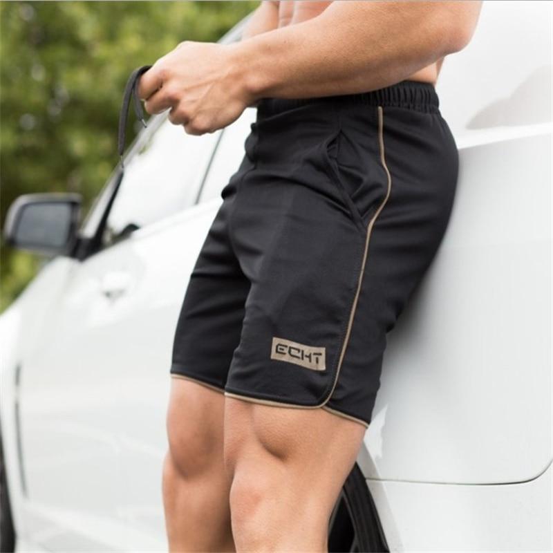 New Summer Men's Black Slim Shorts Calf Length Fitness Bodybuilding Men's Casual Fitness Breathable Mesh Shorts Beach Sweatpants