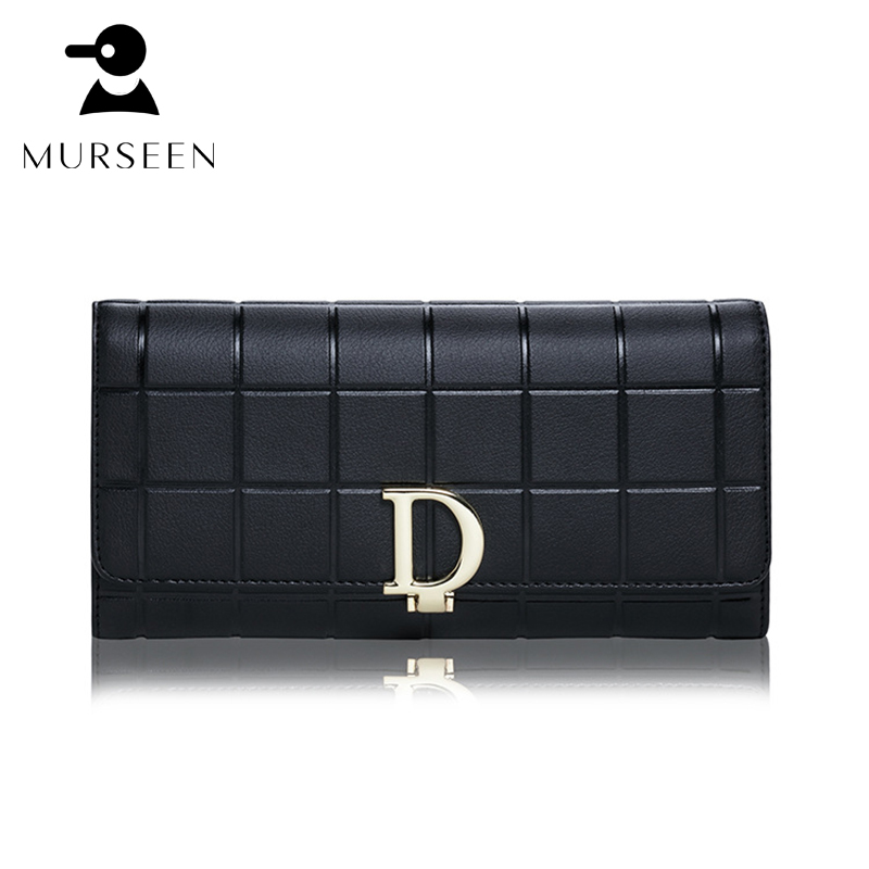 Women Genuine Leather Wallets Long Plaid Purse Card Holder Fashion Soft Ladies Hasp Clutch Bags Designer Brand Coin Pocket Black maihui ladies cowhide long genuine leather wallet women with coin pocket card holder wallet national hasp purse note compartment