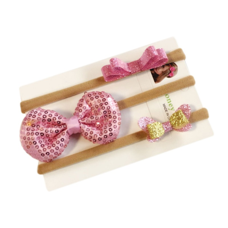 3pcs/Set Children Hairband Baby Headdress Bow Chiffon Flower Headband Suit Fashion Headwear