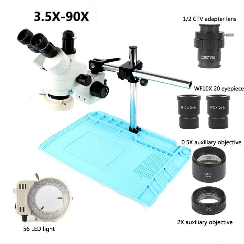 Nouveau 3.5X-90X Focus Industrielle Trinoculaire microscope stéréo, Double appui-bras + 56 led lumière annulaire + Bleu Plage De Soudure