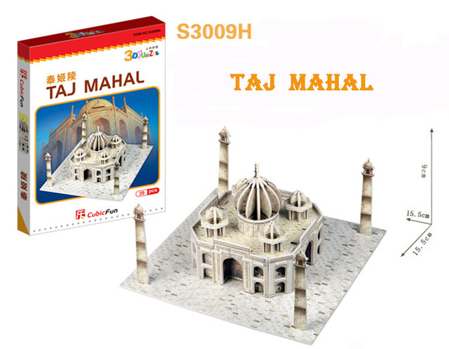 TAJ MAHAL cubic fun S3009H 32pcs 3D Puzzle Famous buildings paper model DIY Educational toys for kids free shipping