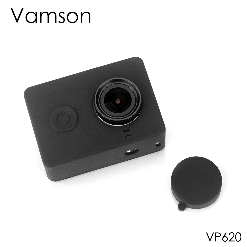 Vamson For Xiaomi For Yi Accessories Dust-proof Silicone Protective Case + Lens Cap For Xiaomi For Yi Sport Action Camera VP620