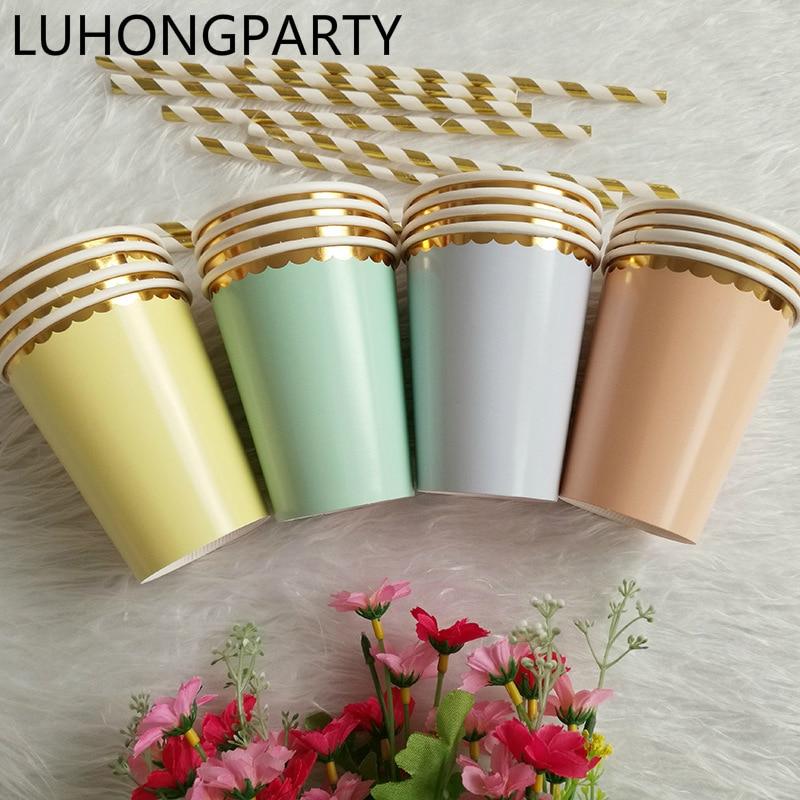 Free Shipping 32pcs Foil Gold <font><b>Yellow</b></font>/green/purple Paper <font><b>Cups</b></font> Birthday <font><b>Party</b></font> Drinking Decor Tableware Disposable Wedding Supplies