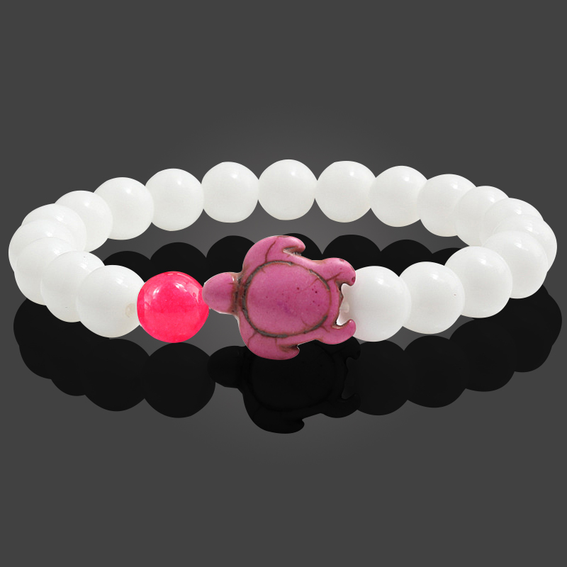 Summer Sea Turtle Natural Stone Beads Bracelets Handmade Charm Women Men Bracelets Casual Yoga Outdoor Jewelry Lovers Gifts 8mm