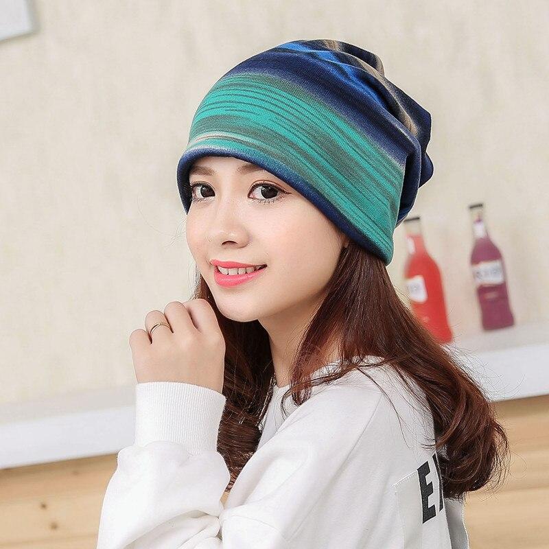 Autumn Spring 3 Use Hat Knitted Scarf & Winter Hats For Women Striped   Beanies   Hip-hot   Skullies   Girls Women   Beanies