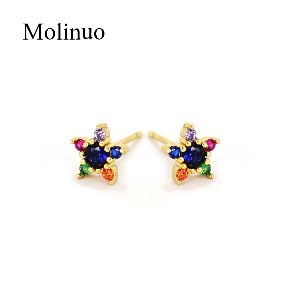 Molino mini simple cz flower charm stud earrings fashion cute woman girl colorful jewelry Star earrings 2019 summer new style