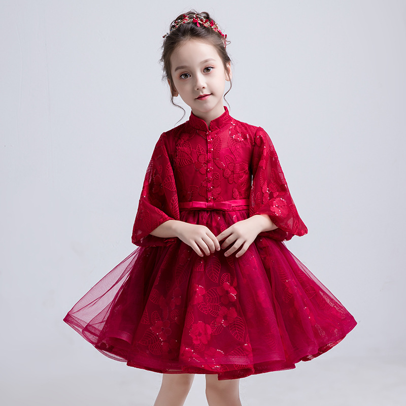 Lovely   Flower     Girl   romantic   dress   New Red Lace   Flower     Girl     Dress   for Wedding Party Children's Princess Birthday Formal   Dresses