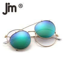 JM Round Polarized Clip On Sunglasses Metal Frame Mirror Circle Lens Men Women Retro Vintage Oculos Steampunk Sun Glasses