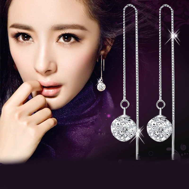 Wholesale 925 sterling silver fashion shiny Shambhala ball crystal ladies drop earrings jewelry female Christmas gift cheap in Drop Earrings from Jewelry Accessories