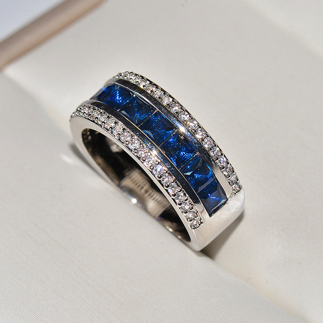 Женские обручальные кольца с синим цирконием серебряное ювелирное
