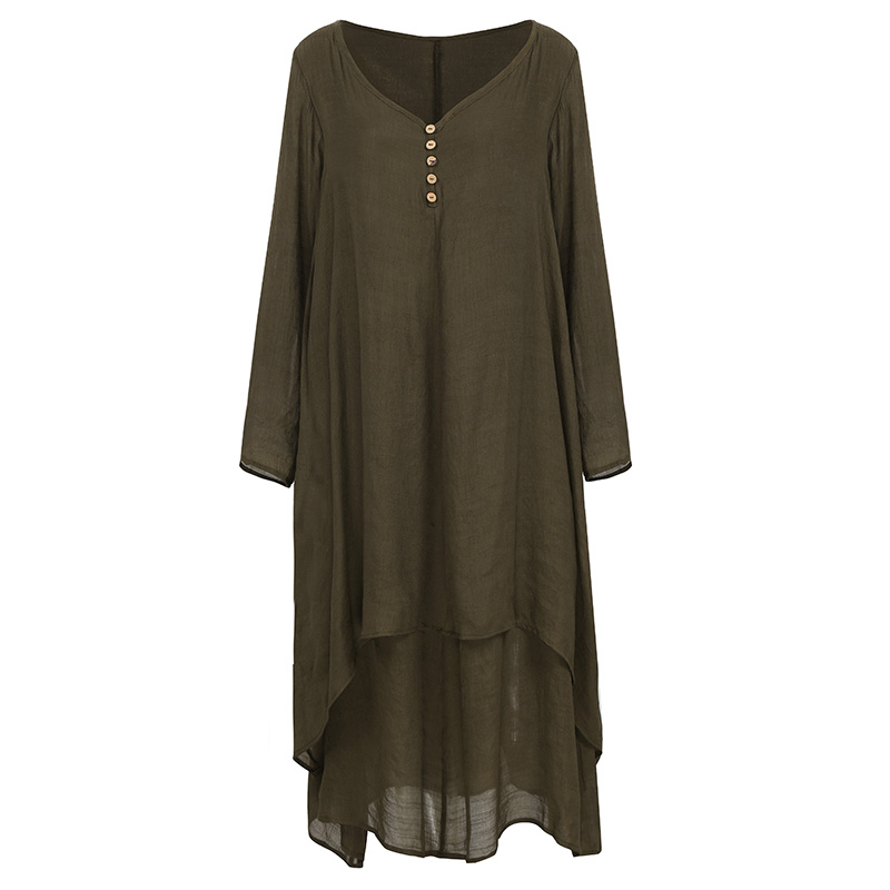 EaseHut Vintage Women Casual Loose Dress Solid Long Sleeve Boho Ethnic Autumn Long Maxi Dresses Plus Size Retro vestido mujer 16