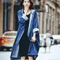 Де Голубь 2016 осень Корейской BF ветер длинное пальто С Капюшоном свободные джинсовые куртки для женщин любители зимнее пальто женщина