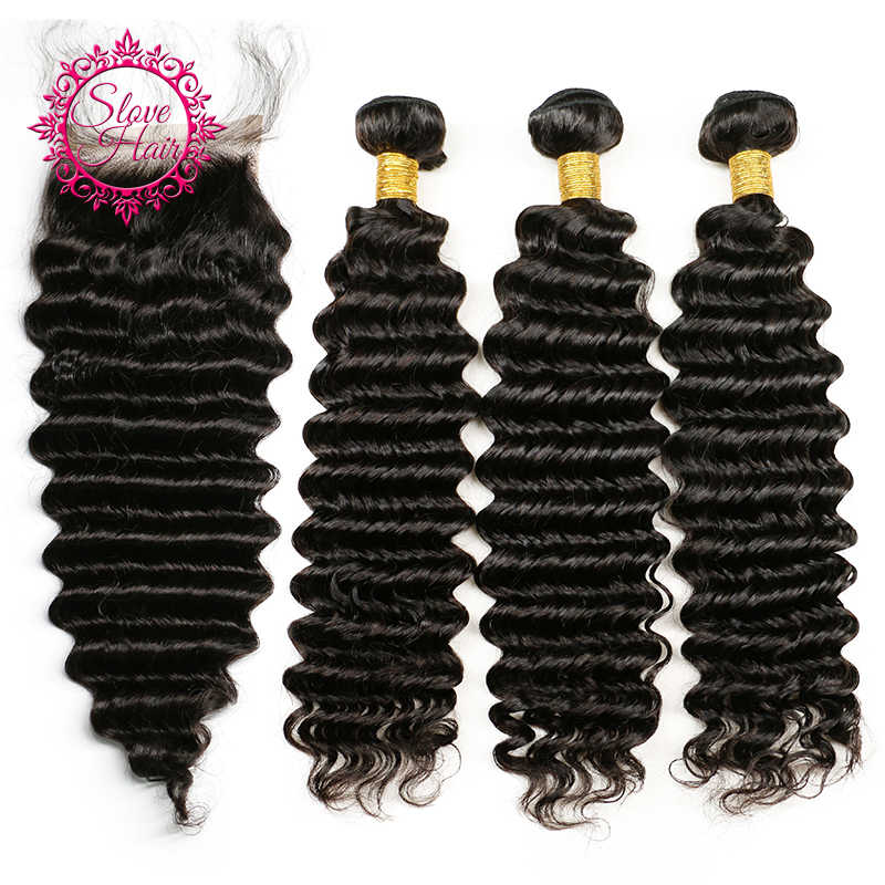 Slove Hair Human Hair Weave 3 Bundles Peruvian Deep Wave With Closure Remy Hair With Closure Peruvian Curly Hair With Closure