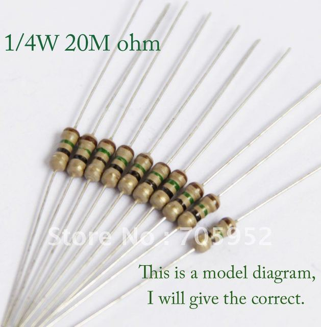 1/4W Carbon Film Resistors 20M ohm +/- 5% (1000pcs)