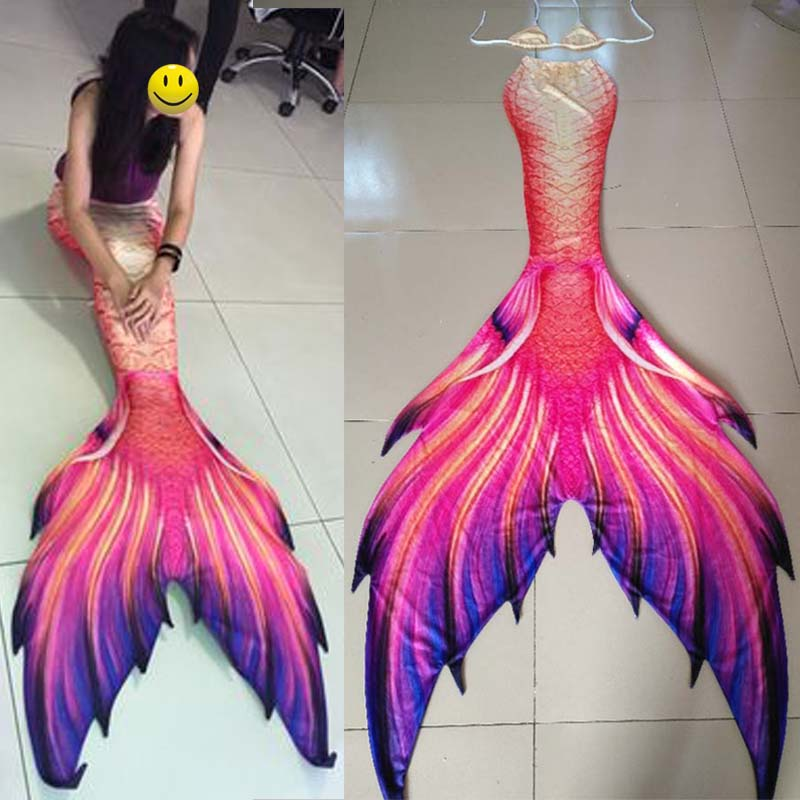 Customize different styles Mermaid Tail Costumes 3pcs Girls Swimming Big Mermaid Tail With Monofin Adult Kids