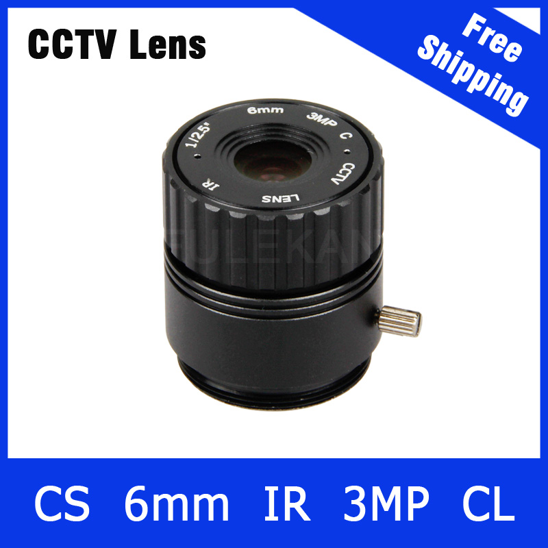 3Megapixel Fixed CS Mount CCTV Camera Lens 6mm For 720P/960P/1080P IP camera and AHD/CVI/TVI Camera Free Shipping cs 8mm cctv camera lens fixed iris monofocal alloy with nail