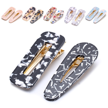 2pcs Marble Hair Clips for Girls Korean Acetic Acid Hairpin Geometric Square Fashion Leopard Duckbill Clips Hair Accessories