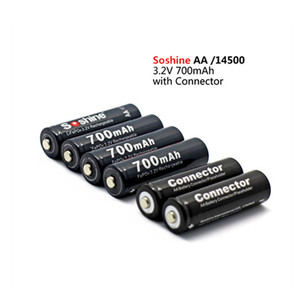 4PCS Soshine 3.2V 700mAh LiFePO4 battery AA 14500 battery pilas rechargables Protected With Battery Case and connectors