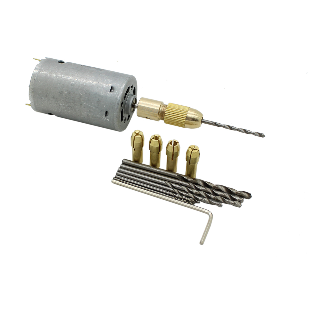 DC12V Electric Motor Drill Hand Press Drilling with 0.5-3mm Small Brass Chuck Collets with 10pc 0.5-3mm Micro Twist Bits Set high quality best price 5pcs set 0 5 3mm small electric drill bit collet micro twist drill chuck set