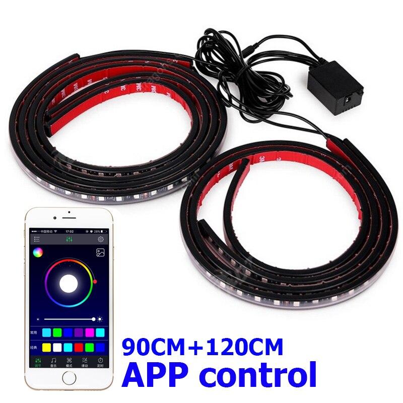 Днище автомобиля <font><b>Bluetooth</b></font> телефон приложение Управление Гибкая RGB свет Атмосфера декоративные Авто по телу неоновый свет