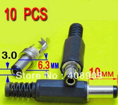 10pcs X  10mm X 6.3mm  X 3.0mm DC Power Plug Socket Connector Soldering Diy