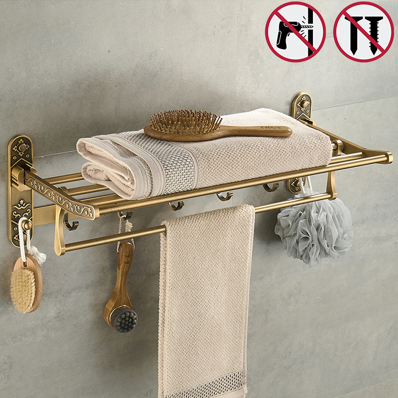 Nail Free Foldable design Bath Towel Rack Active Antique Brass Towel Holder Double Towel Shelf With Hook Bathroom Accessories zgrk foldable antique brass bath towel rack active bathroom towel holder double towel shelf bathroom accessories 96031 mh