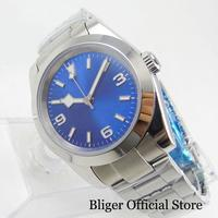 Luxury Style 39mm Blue Dial Luminous Dial Polished Case Self Winding Men's Watch
