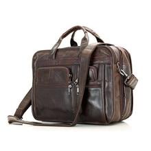 2017 New Mens Genuine Leather Briefcase Fashion Style Messenger Shoulder 15 inch Laptop Bag Case Handbag Laptop Briefcase Male