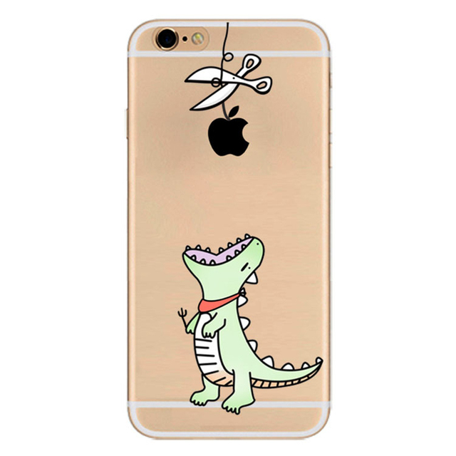 sports shoes f7917 15e18 US $4.59 |Funny Creative Touch Logo Case For Apple iPhone 5 5s 6 6s 7 Plus  Cartoon Dinosaur Girl Cat Bear Painting Soft Clear Phone Cover-in Fitted ...