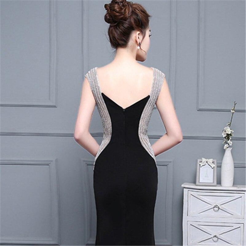 C'est Yiiya sexe noir dos nu Satin col en v fermeture éclair élégant robes de soirée sirène robe de soirée robes de soirée robes formelles LX180 - 6