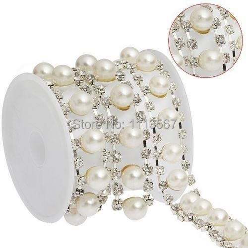 5yard Craft Crystal Pearl Rhinestone Chain Applique Embellishment Decorated Ribbon Trim For Wedding Dress Beaded Trim