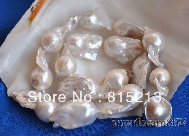 "ddh001161 Attractive 17""30mm baroque white reborn keshi pearl necklace"