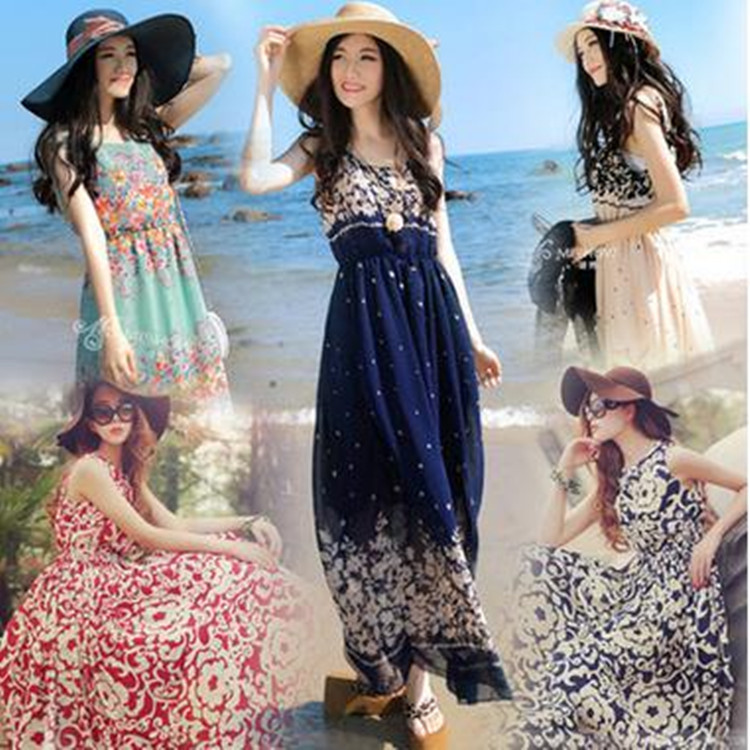 b2777d6e8ff 2016 Women s maternity clothes Bohemian Dresses Hawaii Holiday Style  Printed Summer Women Beach Dress free size