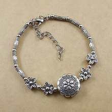 Lovely Flower and Round Charm Tibetan Silver Bracelet Bangle Wholesale Jewelry Jewellery For Women