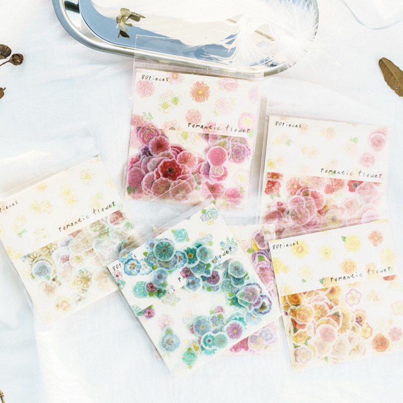 80pcs/pack Small Romantic Flower Series Sticker Decoration For Dairy Album Phone Scrapbooking Seal Sticker