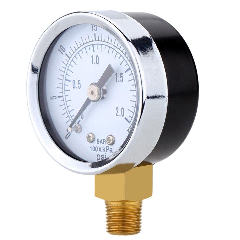 aceite o agua 50 mm 0-15 PSI 0-1 bar 1//4 pulgadas BSPT TS-50 Medidor de doble escala Mini man/ómetro de baja presi/ón para combustible aire plateado y negro