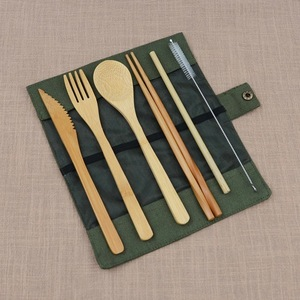 7Pcs/Set Wooden Bamboo Straw Covered With Cloth Bag Knives Fork Spoon Chopsticks Bamboo Travel Cutlery Set