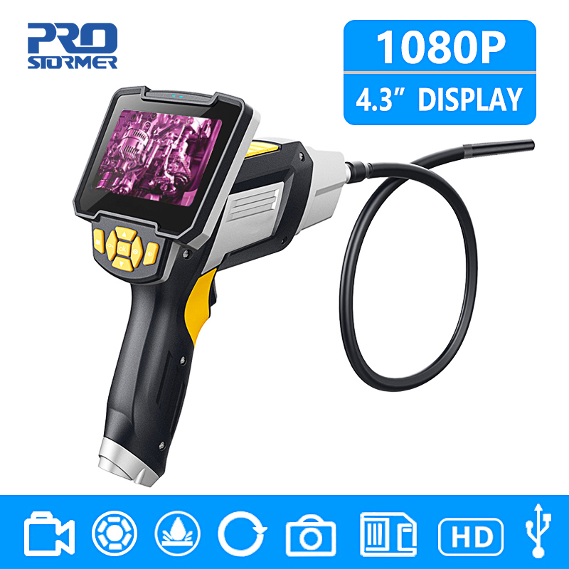 PROSTORMER 4,3 inch 8 мм промышленный эндоскоп 1080 P инспекции Камера для инструментов для ремонта автомобиля IP67 Водонепроницаемый на змеевидной труб