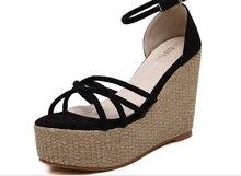 Liren 2019 Summer Sweet Lady Wedges Heels Buckle Gladiator Sandals Women PU Platform Open Toe Cross-tie Women Shoes Size 35-39 недорого