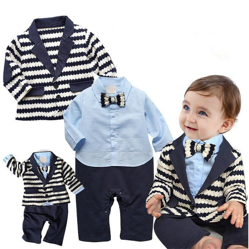New 2017 Gentleman Baby Boy Clothes White Coat+ Striped Rompers Clothing Set Newborn Wedding Suit 2pcs set baby clothes set boy