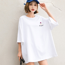 Women Summer 5 Color Half Sleeve T-shirt 2019 New Round Neck 6 Styles Cute Print Loose Streetwear Tshirt Tops Plus Size HJ236 chic round neck half sleeve pure color fringed t shirt for women