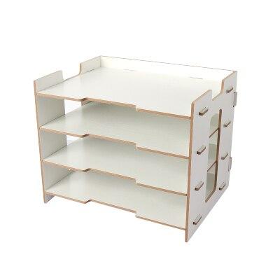 Деревянный держатель для журналов, экологичный держатель для файлов, Настольные принадлежности, органайзер, папка для файлов, стеллажи, коробка для хранения - Цвет: Белый